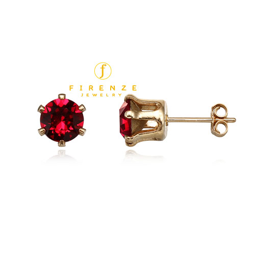 14K Gold Filled Handmade 6mm Round Snap-inEarr with SwRuby Earring[Firenze Jewelry] 피렌체주얼리