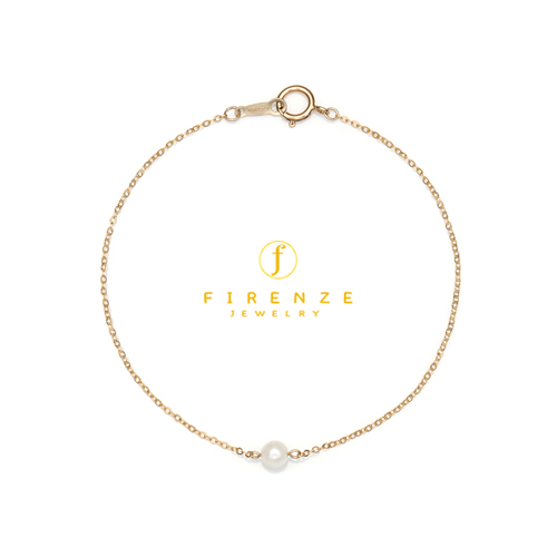 14K Gold Filled Handmade 1.0mmx180mm plateCablechain with 4mm FreshWater Pear  (Anklet) Bracelet[Firenze Jewelry] 피렌체주얼리