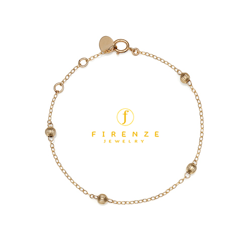 14K Gold Filled Handmade 1.6mmx200mm plateCablechain with 4x4mm CorrugatedBall (Anklet) Bracelet[Firenze Jewelry] 피렌체주얼리
