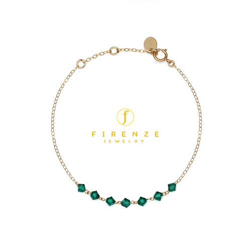 14K Gold Filled Handmade 1.3mmx210mm plateCablechain with 7x4mm Swarovski Emerald (Anklet) Bracelet[Firenze Jewelry] 피렌체주얼리