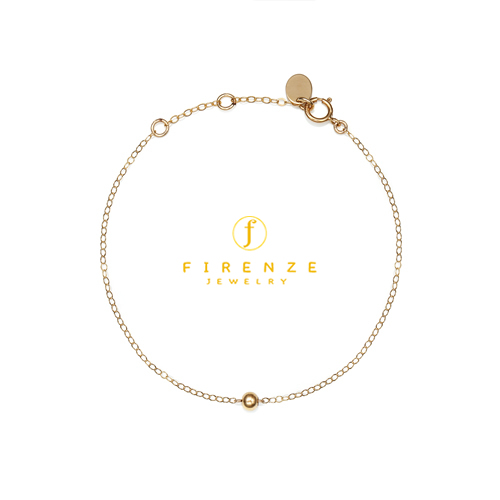 14K Gold Filled Handmade 1.3mmx180mm PlateCableChain with 4mm RoundBall (Anklet) Bracelet [Firenze Jewelry] 피렌체주얼리