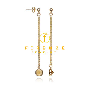 14K Gold Filled Handmade PlateRollChain Long Dangle 6x8mm Citrine round drop Earrings[Firenze Jewelry] 피렌체주얼리
