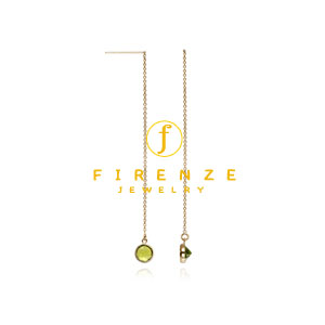 14K Gold Filled Handmade 80mmCableChain Long Dangle 6x8mm Peridot round drop Earrings[Firenze Jewelry] 피렌체주얼리