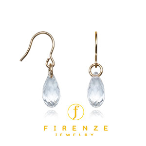 14K Gold Filled Handmade EarWire Basic with 10mm Crystal TearDrop Earrings[Firenze Jewelry] 피렌체주얼리