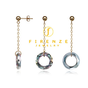 14K Gold Filled Handmade 20mm CableChain with 9/10mm Swarovski Circle drop Earrings[Firenze Jewelry] 피렌체주얼리