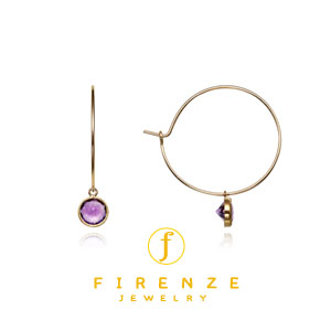 14K Gold Filled Handmade 25mm EarHoop with 4x6mm Amethyst Round Drop Dangle Earrings[Firenze Jewelry] 피렌체주얼리