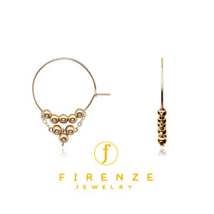 14K Gold Filled Handmade 25mmEarHoop with 8x4mm Roundball Earrings[Firenze Jewelry] 피렌체주얼리
