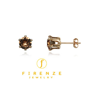 14K Gold Filled Handmade 6mm Round Snap-inEarr with 6mm SwTopaz Earring[Firenze Jewelry] 피렌체주얼리