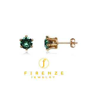 14K Gold Filled Handmade 6mm Round Snap-inEarr with 6mm SwPeridot Earring[Firenze Jewelry] 피렌체주얼리