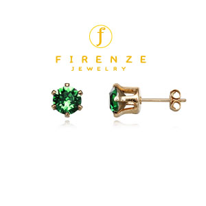 14K Gold Filled Handmade 6mm Round Snap-inEarr with 6mm SwDarkGreenMoss Earring[Firenze Jewelry] 피렌체주얼리
