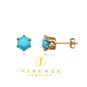 14K Gold Filled Handmade 6mm Round Snap-inEarr with 6mm SwTurquoise Earring[Firenze Jewelry] 피렌체주얼리