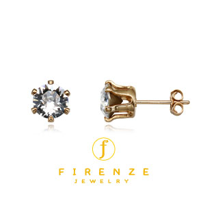 14K Gold Filled Handmade 6mm Round Snap-inEarr with 6mm SwCrystal Earring[Firenze Jewelry] 피렌체주얼리