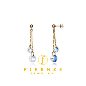 14K Gold Filled handmade 15/20mm PlateRoll with 5/8mm Swarovski Round drop Earrings[Firenze Jewelry] 피렌체주얼리