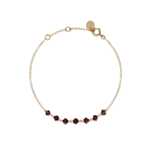 14K Gold Filled Handmade 1.3X180mm PlatecableChain with 7x4mm Swarovski Garnet (Anklet)Bracelet [Firenze Jewelry] 피렌체주얼리